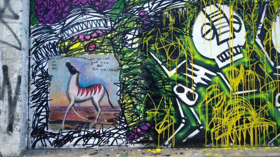 Jonesy paste up with Skeleton Cardboard on Osborne Street