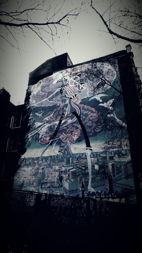 The famous Nuclear Dawn mural on Coldharbour Lane created in 1981