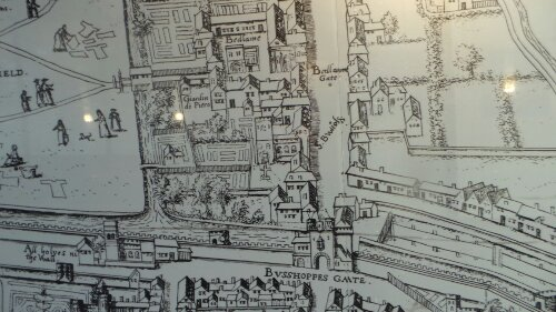 Map of the old Bedlem and Bishopsgate on the hoardings of the Crossrail project in Liverpool Street