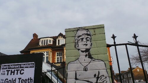 Some old pieces from Zabou decorate the outside pillars of the Brixton Jamm on Brixton Road