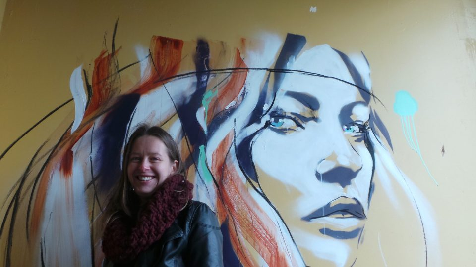 Hannah poses by the finished article, another fantastic piece of outdoor art