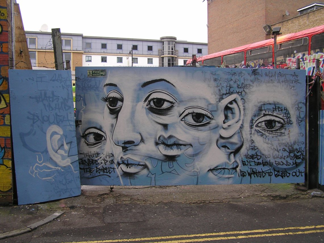 Josh Jeavons mural at the gate to the Red Gallery in Rivington Street.  Thanks to Paul Nicholson for the photo