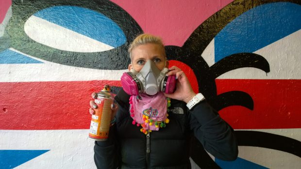 Steffi Bow all the way over from Dubai was in patriotic mood in Leake Street
