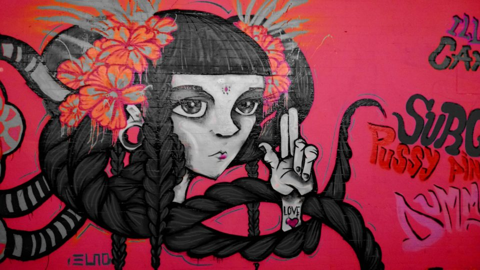 Spanish artist Elno produced a really colouful piece and here I've gone and taken it all out