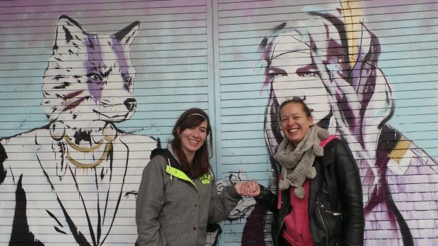 Zabou and Hannah next to their completed mural