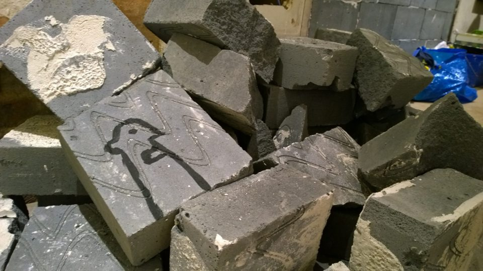 Rubble in the gallery