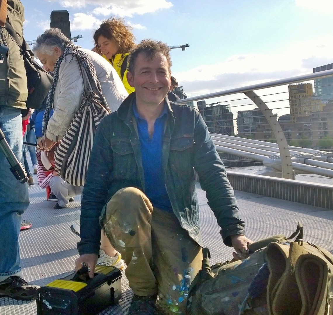 Ben Wilson the chewing gum man on the Millenium bridge