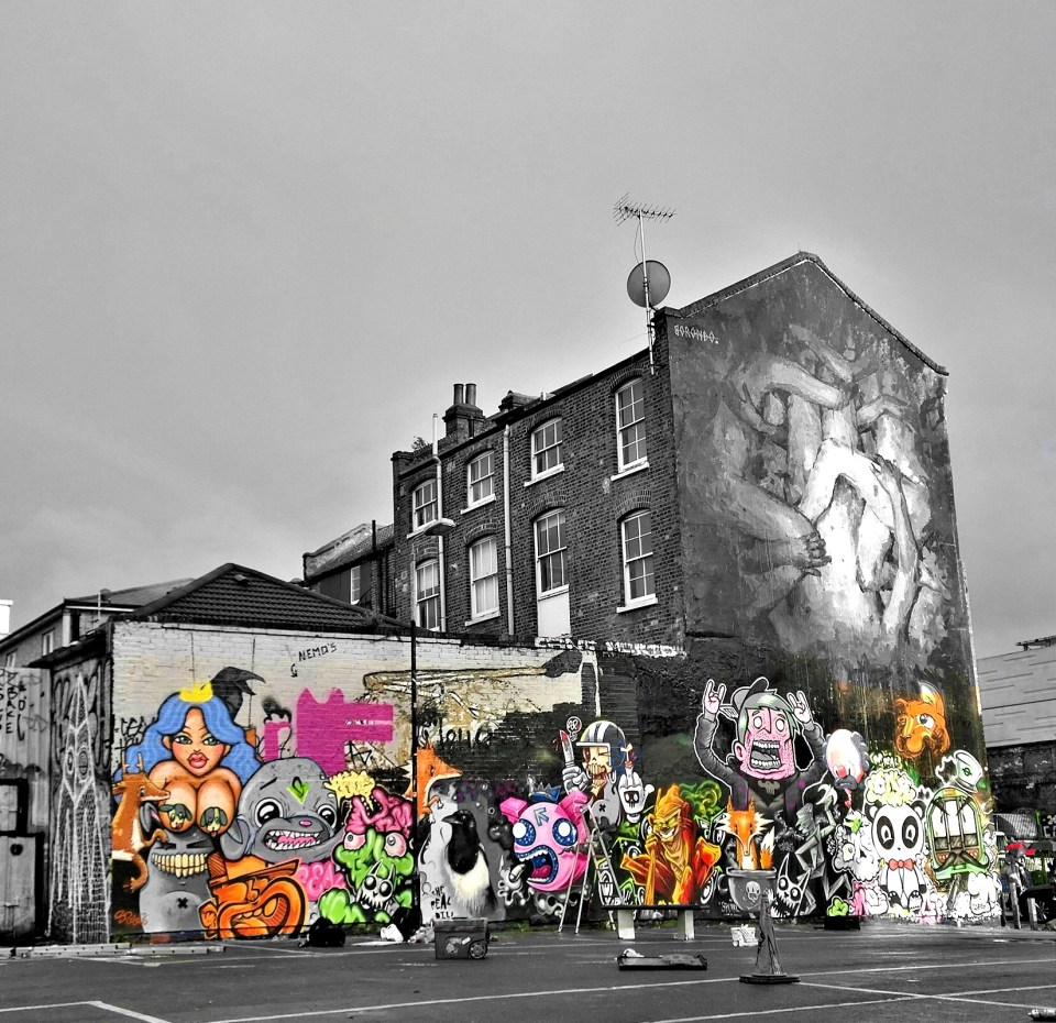 The building on Sclater Street with the full mural