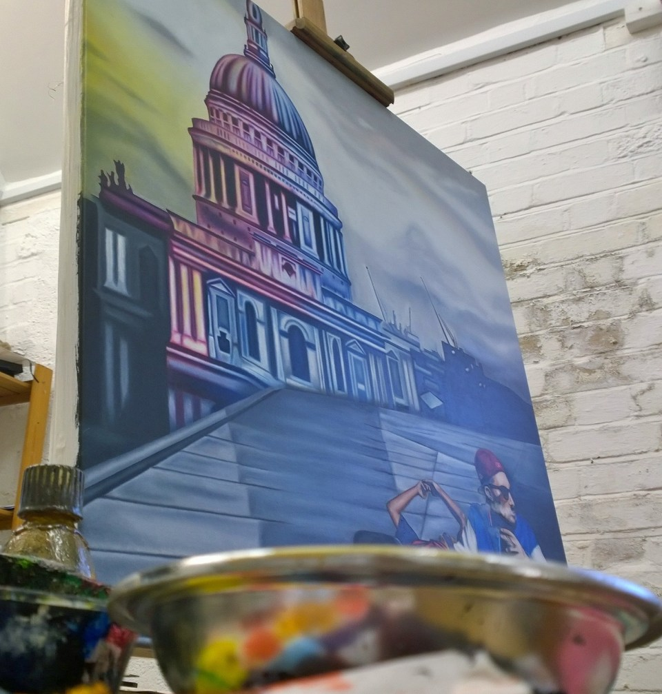 One of her canvasses still on the easel