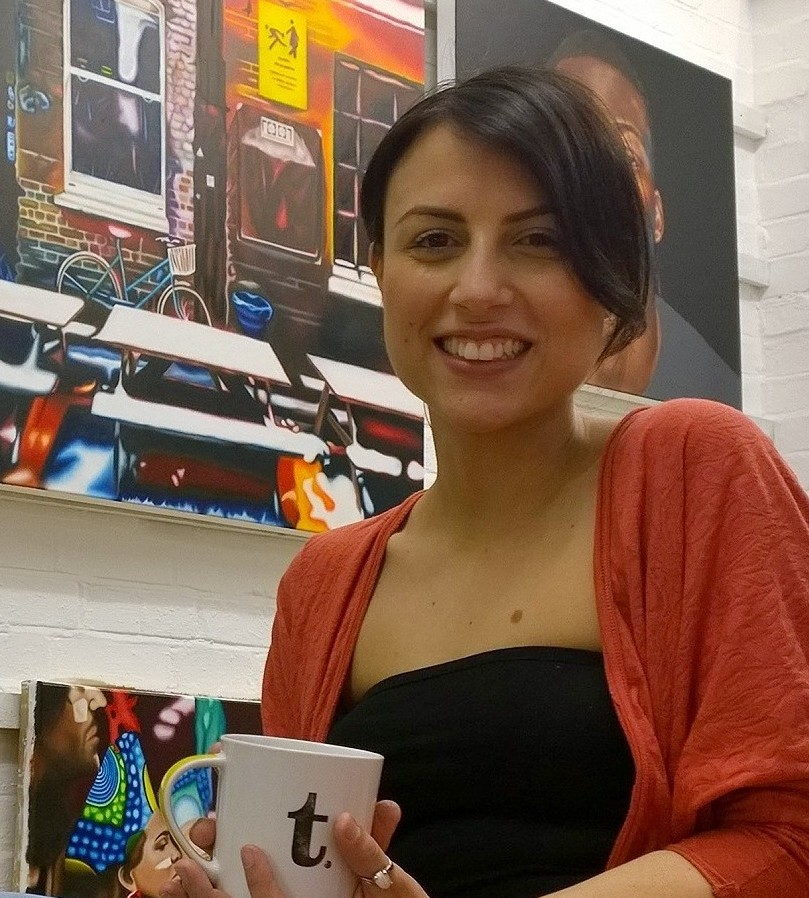 Andrea in her studio as she prepared for her show 'The Roadz'