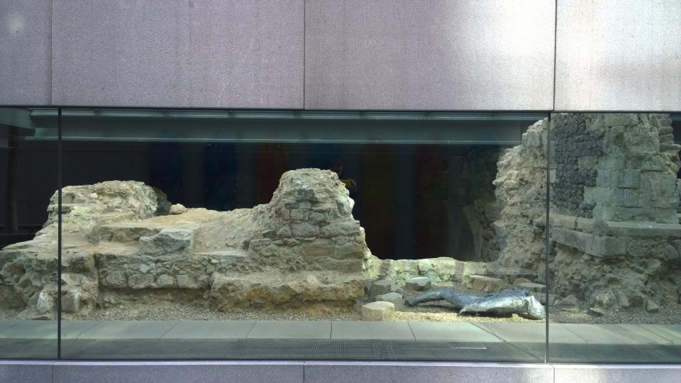 The remains of the Charnel House on Bishops Square