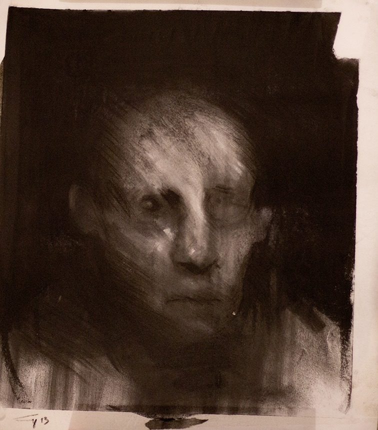 Face (chalk on paper) by Guy Haddon Grant