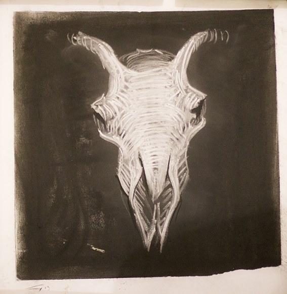 Skull (chalk on paper) by Guy Haddon Grant