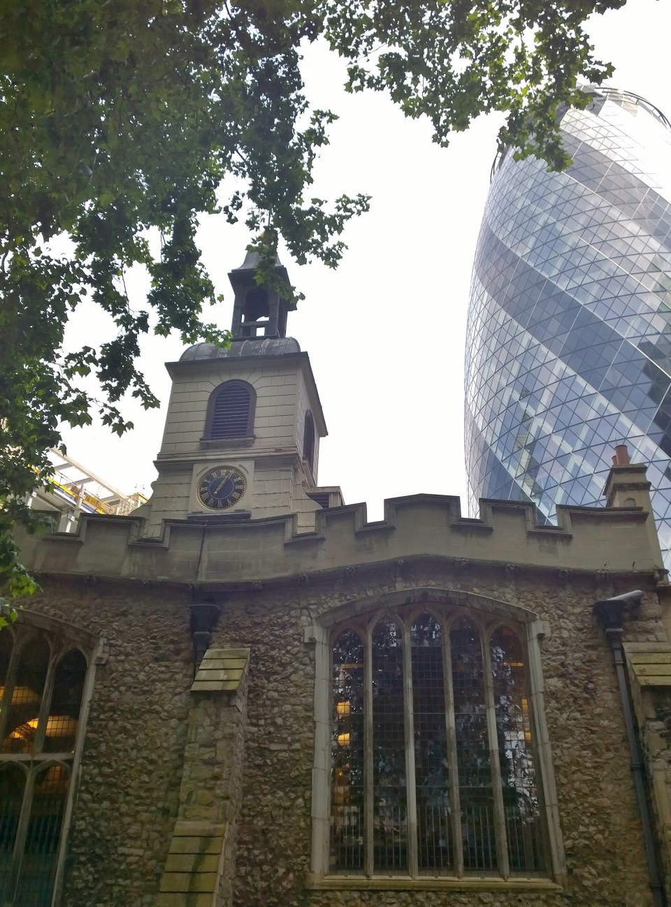 St Helens Bishopsgate with the Gherkin on St, Mary Axe in the background.