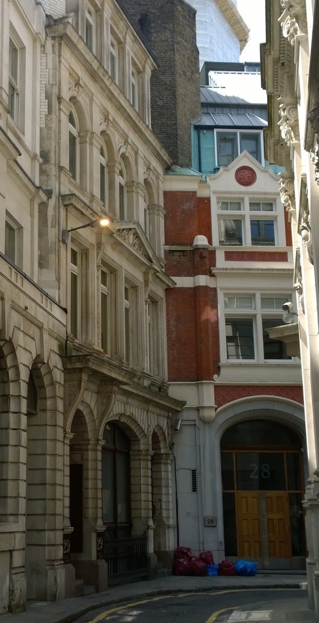 The Drapers Hall from the street now named 'Austin Friars'