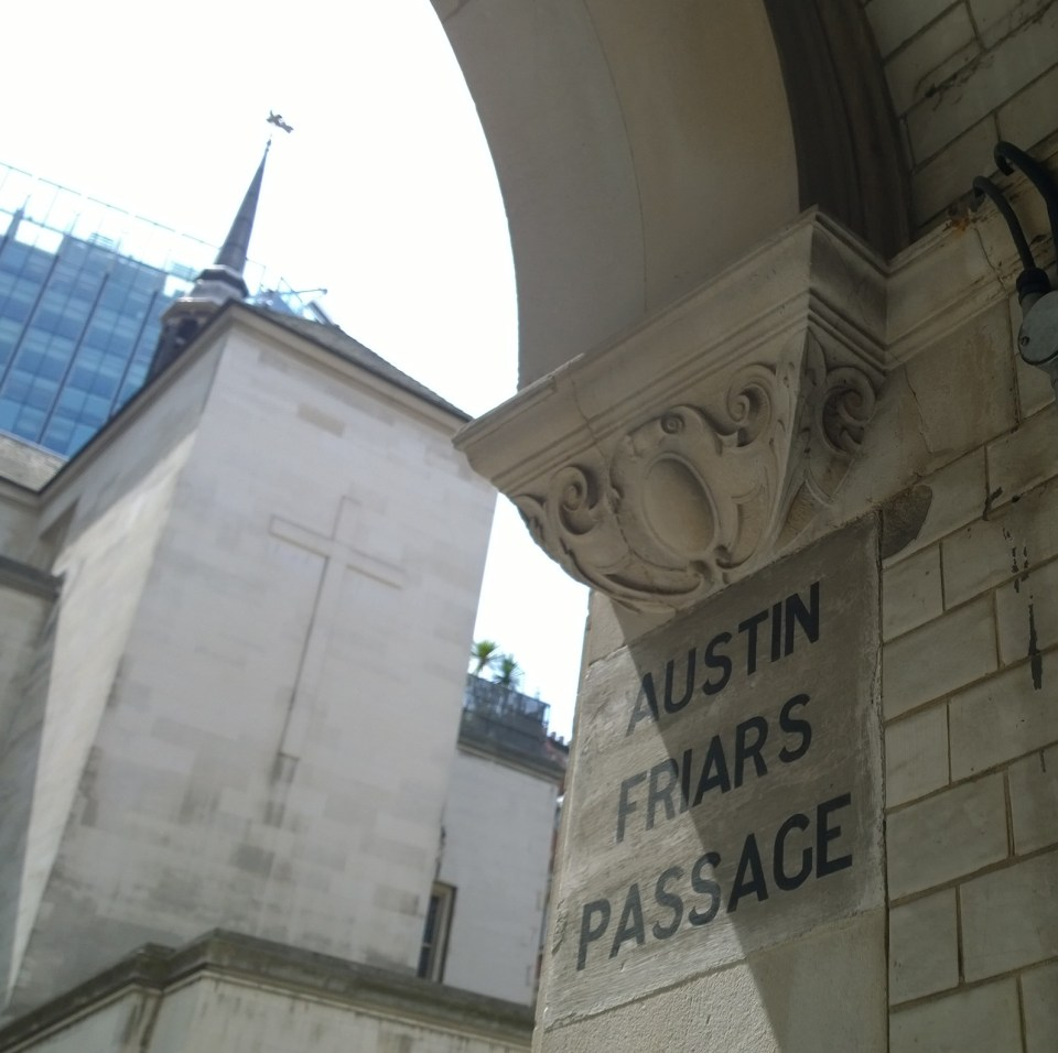 Looking towards the Dutch Church from the Austin Friars Passage