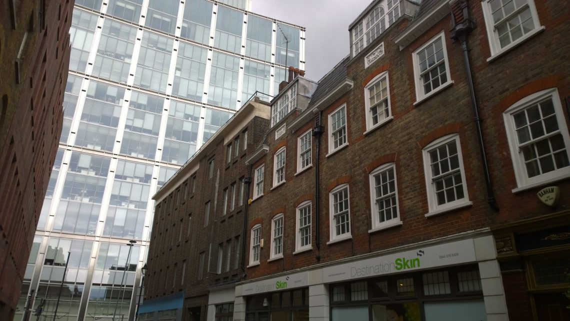 Folgate Street looking towards Norton Folgate.  It is proposed that the corner buildings are demolished