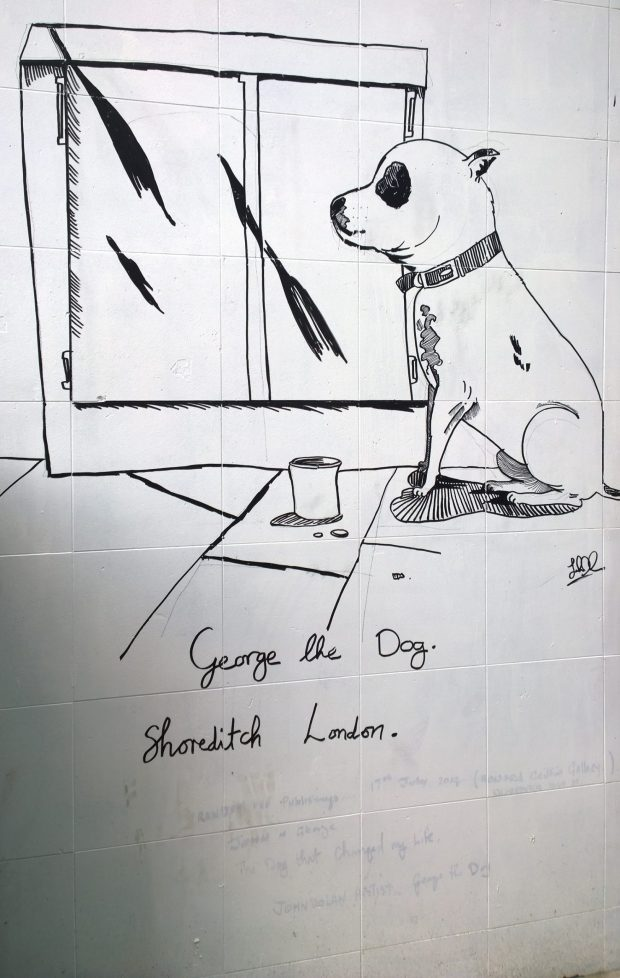 George the Dog on a wall opposite the gallery on Redchurch Street