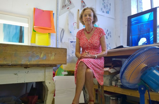 Glass Artist and painter Kate Baden Fuller in her studio