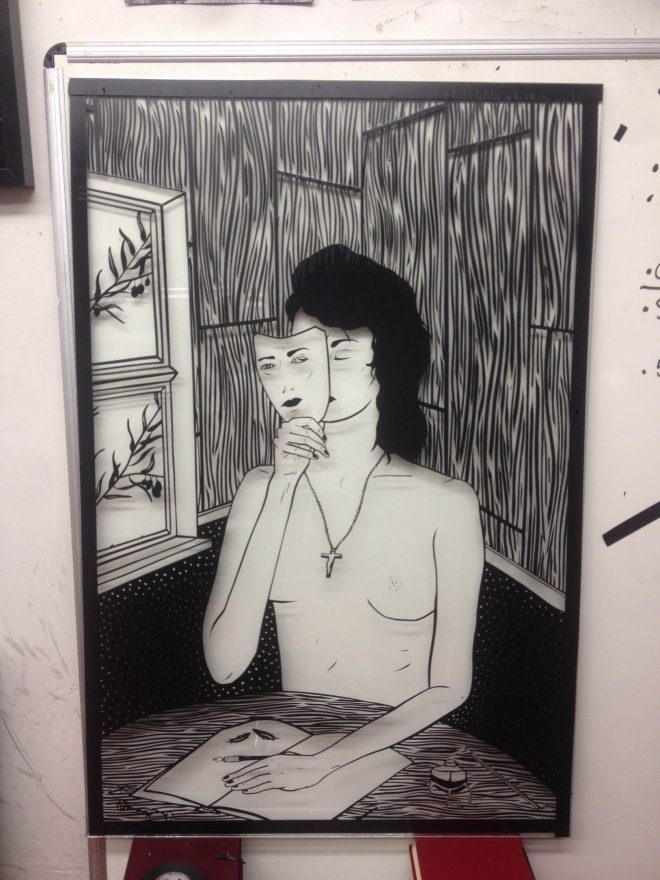 Benjamin Murphy will be painting at the art wall and has also donated this piece for the gallery show