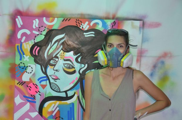 Kicking off the festival in style Lana Alana painted the windows in Hoxton Square and also created a piece as part of the Old Street Tube Station event/  Photo courtesy of International Alert