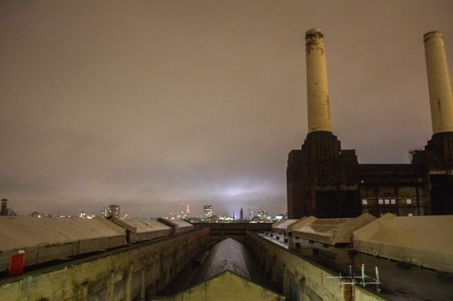 The power station with its iconic towers