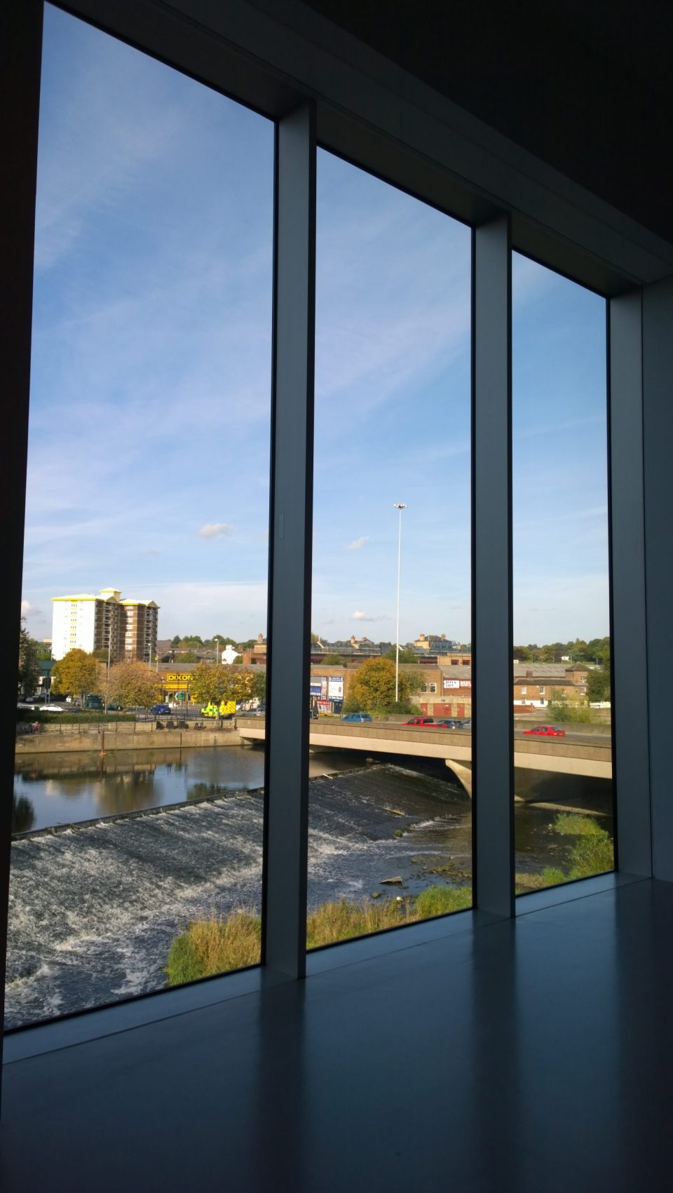 Giant Windows in the gallery looking out onto the River Calder