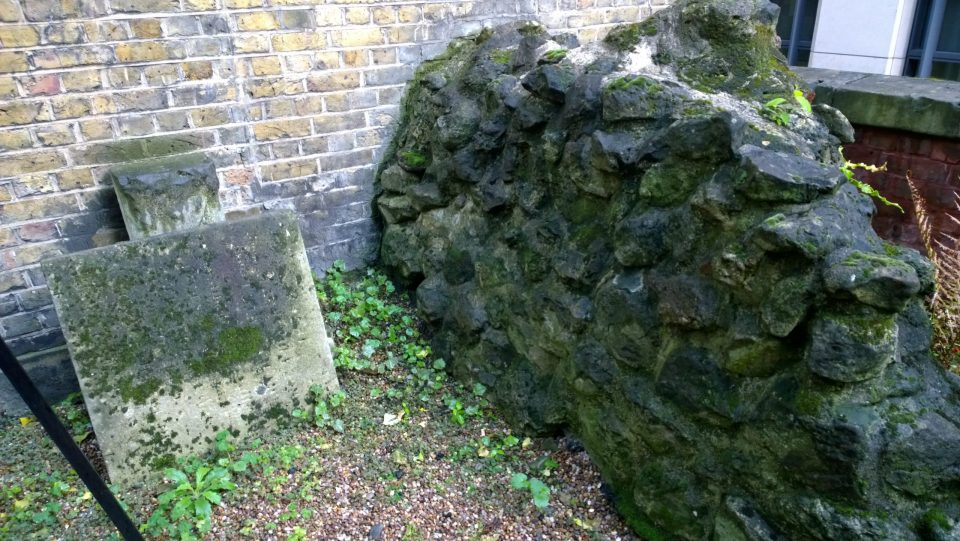 An old piece of wall possibly part of the old monastic building on the site of the old Christchurch Greyfriars churchyard