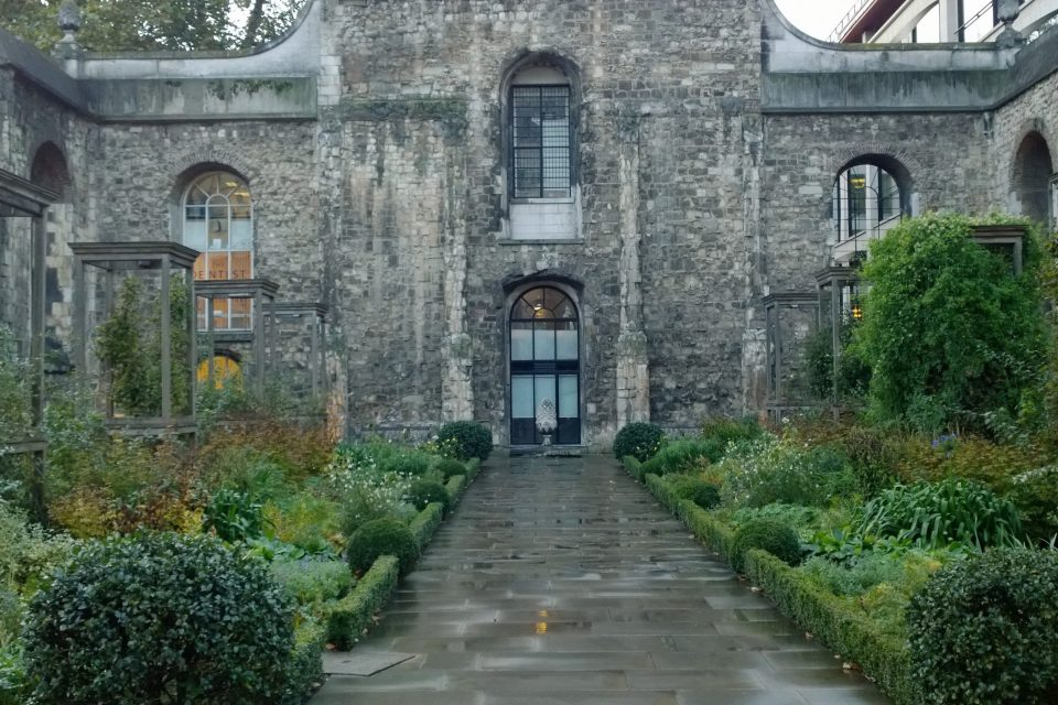 The former nave of the Christchurch Greyfriars is now a garden