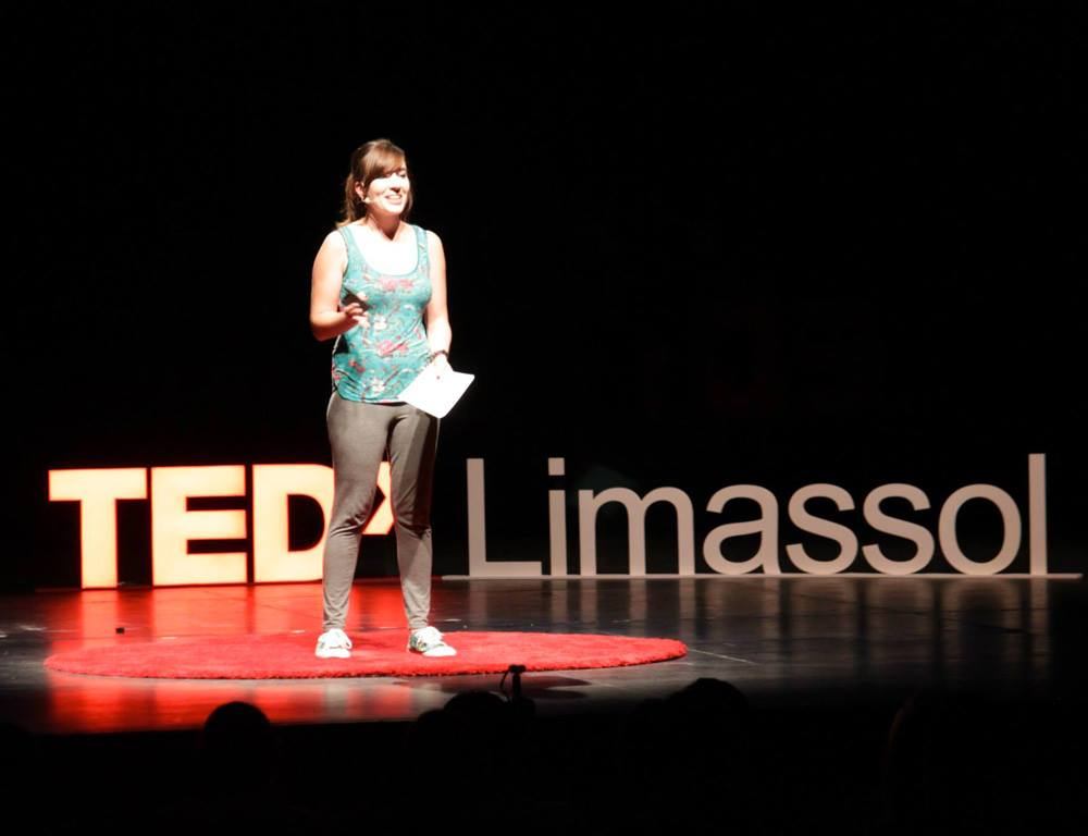 Zabou speaking at the TEDx Limassol Conference