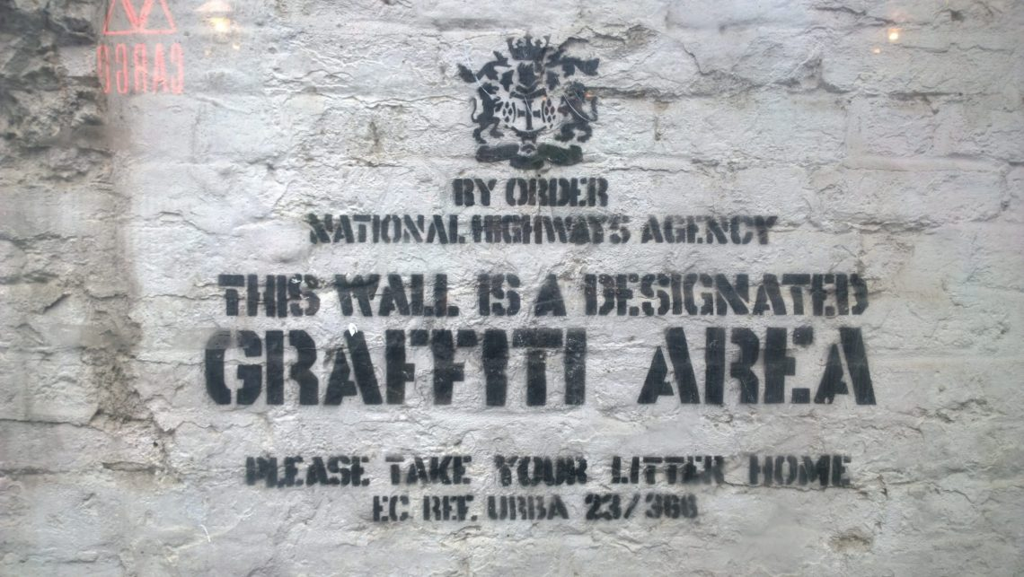 Designated Graffiti Area by Banksy as seen in the Cargo nightclub in Shoreditch
