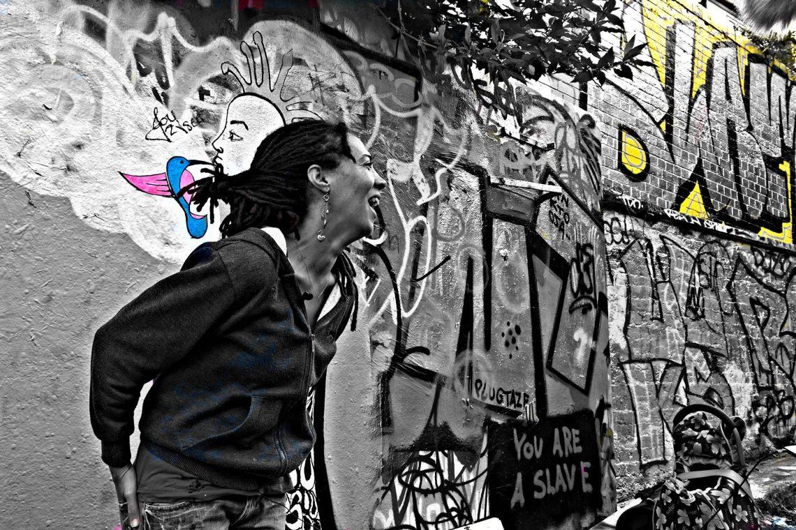 Portrait of Joyce Treasure in the Leake Street Graffiti Tunnel