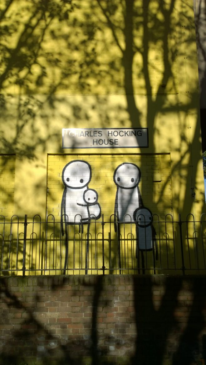 A Stik family soon to be recreated on the side of a huge apartment blick