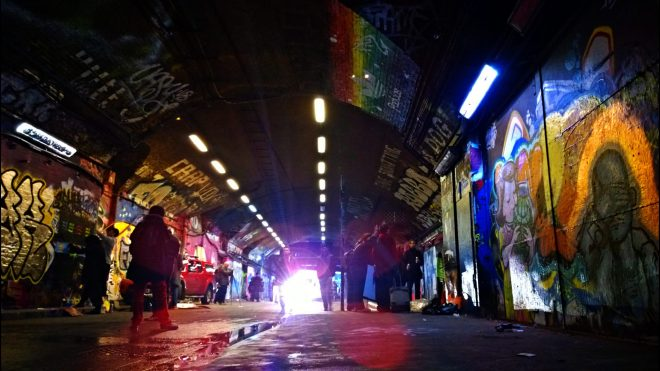 The Leake Street Tunnel during the Ben Naz paint jam