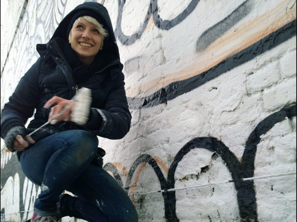 The artist Zina was also helping out with the painting touching up some of the lines and filling in the white paint