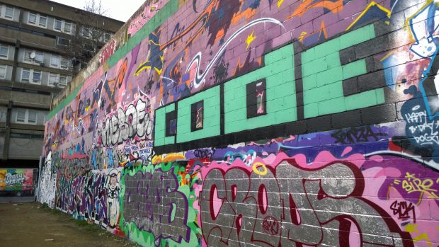 Code tag on the graffitit wall