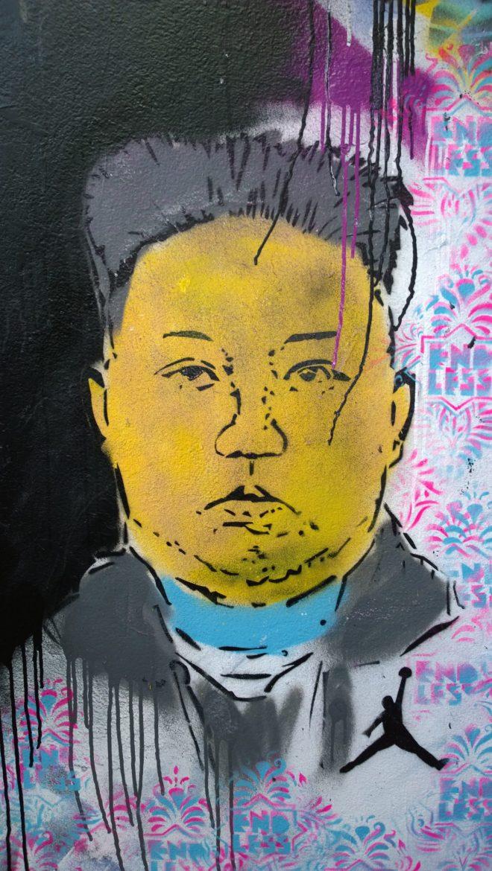 Endless street art featuring Kim Yong Un