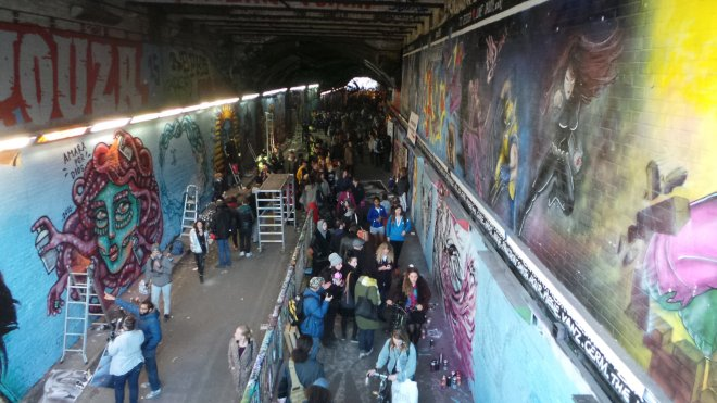 The crowds in the tunnel were packed all day