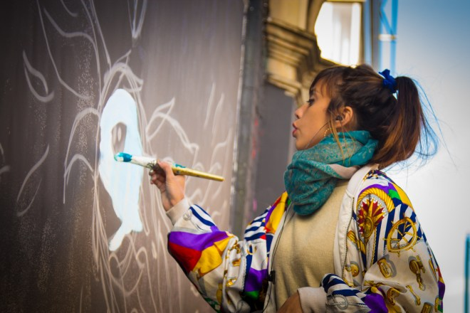 Argentinas Fio Silva won the Spring Projects 'Next Best Thing' competition and painted walls around Europe in a two week .  Photo by Rob Wilson Jnr