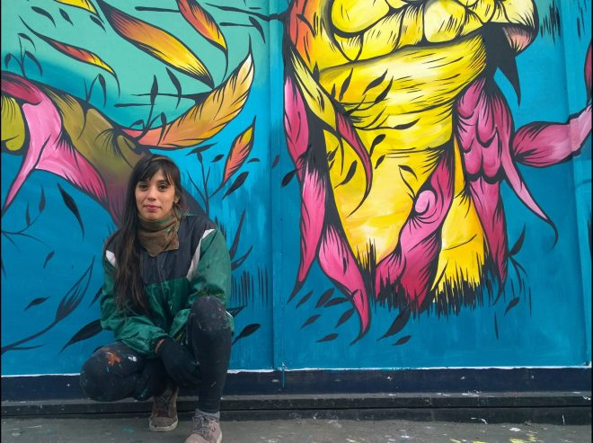 At her first wall in London in the Croydon Arts Quarter