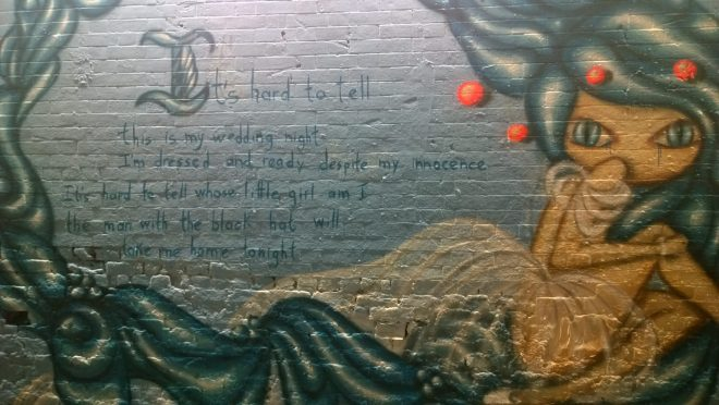 Vanessa Longchamp also had a powerful message to give with her mural about the horrors of child marriage