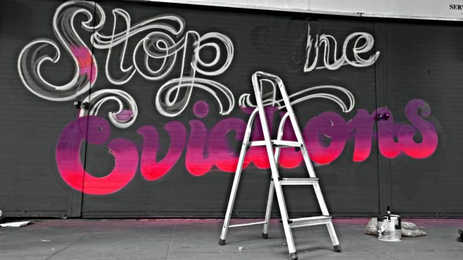 Lilly Lou's 'Stop the Evictions' sign at the halfway stage.  She was supporting the campaign on Easter Mondy