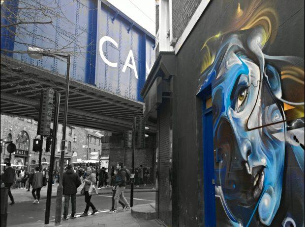 Mr Cenz art near to the Camden Lock bridge