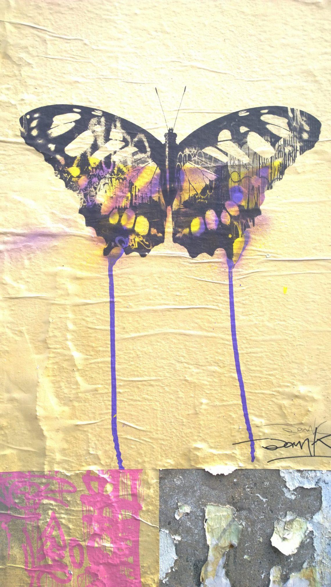 Butterfly street art by Donk Toynbee Street