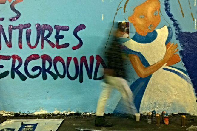 Alices Adventures Underground.  S.O.S recreated her famous mural