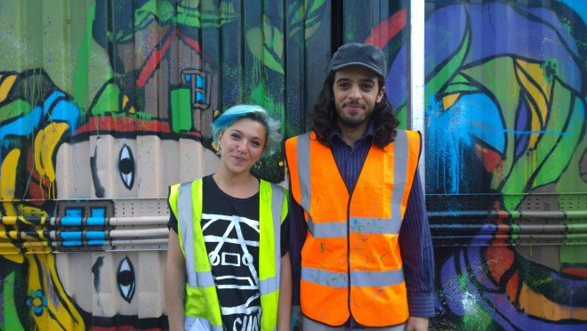 Elno and Deco next to Deco's soon to be finished piece