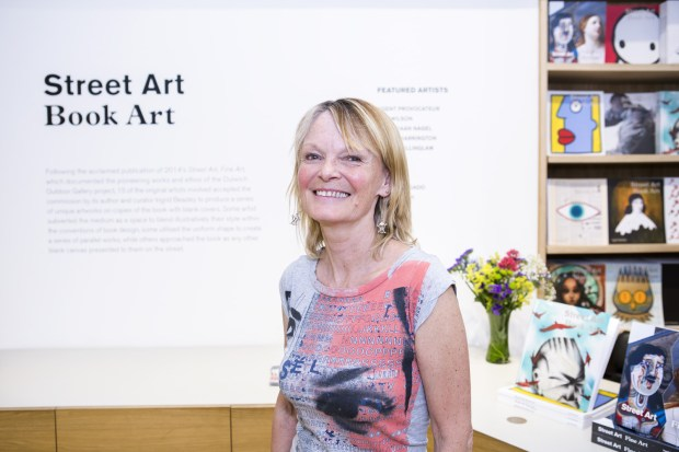 Ingrid Beazley at the opening of 'Street Art, Book Art'