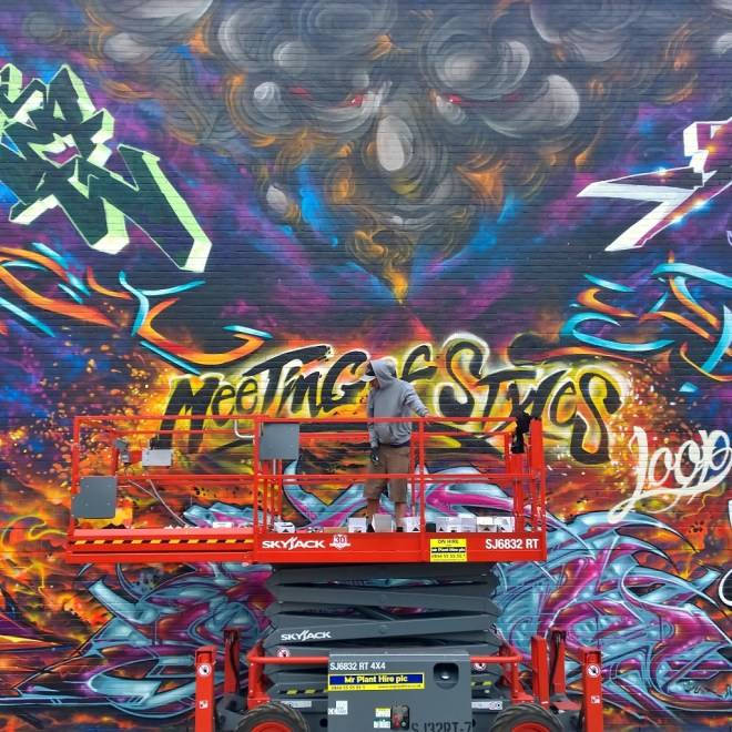 The giant wall in the middle of painting at the 2015 Meeting of Styles