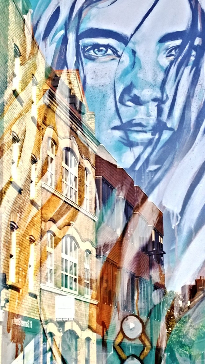 Face in the window with Whitecross Street in the background