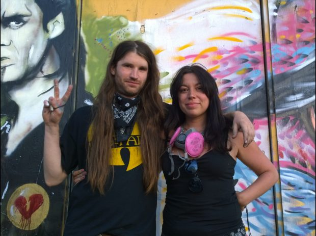 Gary Alford with Giusi Tomasello after completing their murals